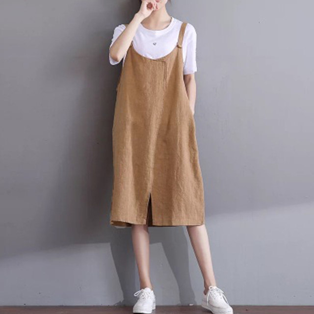 4d7726fea5 2018 Spring Summer New Korean Art Sundresses Large Size Sleeveless Strap  Dress casual Cotton Line Vest Dress for Women Z578