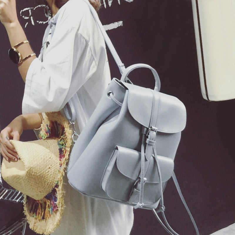 Женские кожаные рюкзаки на шнурке, школьные сумки для девочек-подростков, Женские Модные Винтажные рюкзаки, черный рюкзак mochila XA950H