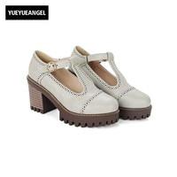 Retro Wing Tip Brogue Shoes Woman Buckle T Strap Roma Female Footwear Antiskid Block High Heel