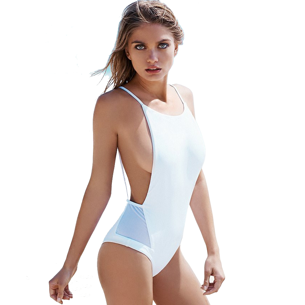 2017 Sexy White low cut Backless mesh splicing one piece swimsuit high neck female Swimwear Women Bathing suit Black swim wear 2017 sexy black swimsuit one piece swimwear women backless female swimsuit high cut thong monokini pad bathing suit swim wear