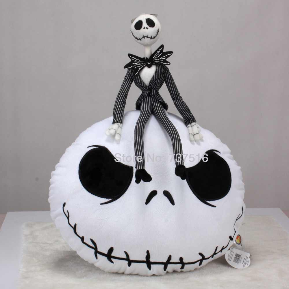 New 2pcs The Nightmare Before Christmas Jack Skellington Round White Plush Doll Toys & Pillow Cushion Soft цена и фото