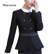 2017 New Korean women jackets fashion formal Double Breasted patchwork o-neck large size blazers office ladies hem ruffles work
