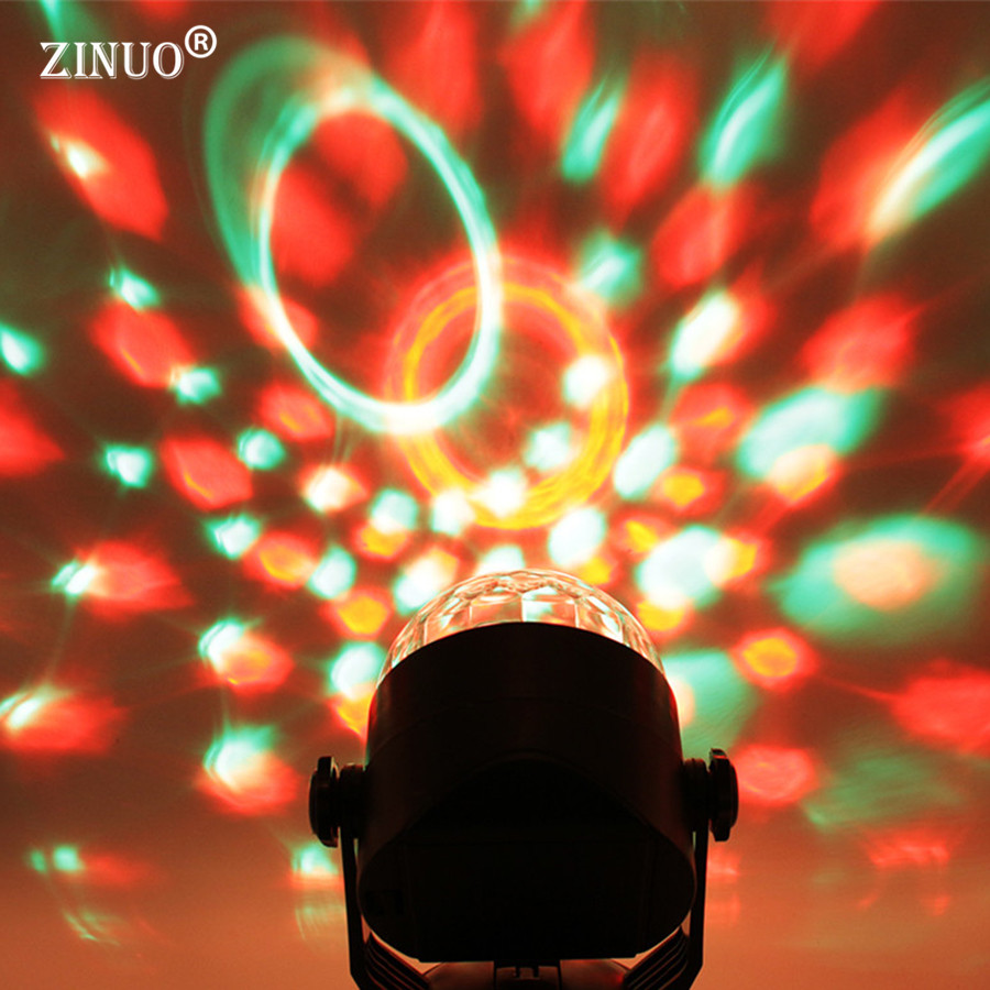 ZINUO DMX Sound Activated 3W RGB LED Mini Crystal Magic Ball Effect LED Stage Lights Laser