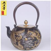2018 new 1.4L Dragon and Phoenix pot of iron pot Japanese South health old iron pot teapot kettle uncoated iron teapot