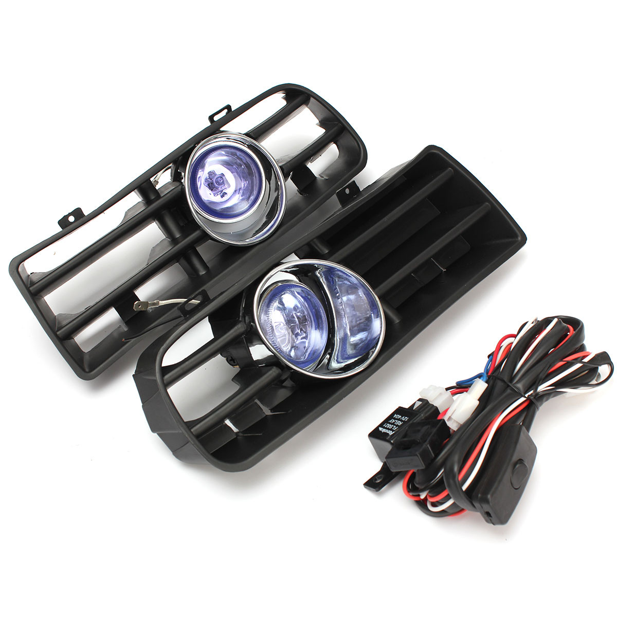цена на 2Pcs Blue Front Fog LED Light Lamp Lower Bumper Grille for VW Golf MK4 1998 1999 2000 2001 2002 2003 2004