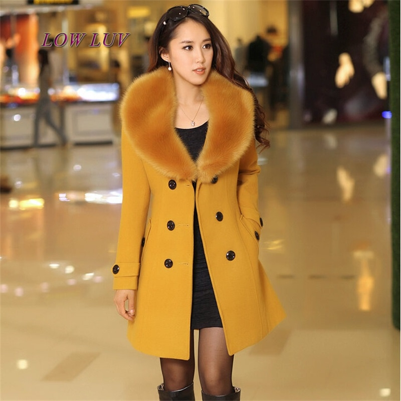 Plus Size M-3XL Winter Coat Women 2017 New Fashion Slim Big Fur Collar Double-Breasted Womens Wool Blended Hot Sale AL416 2016 new fashion fur collar women coat sexy ladies wool sweater double breasted thick skirt cotton dress 3 colors size s 2xl page 4 page 5 page 1 page 3