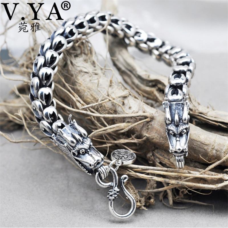 Настоящий Браслет из чистого серебра 100% пробы 925 пробы толщиной 5 7 мм, браслеты с драконами для мужчин и женщин, хорошее ювелирное изделие YB11