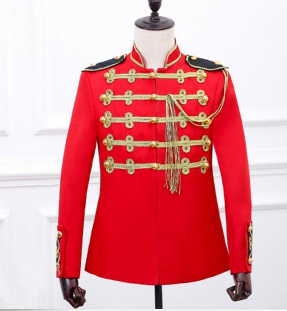 US $69 99 |Mens Military gold buttons stand collar stage show jacket  embroidery coat Club Red-in Jackets from Men's Clothing on Aliexpress com |