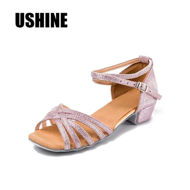 3446710ebfe Pink Silver Point Satin Low Heel Ballroom Salsa Latin Dance Shoes Women  Girls MF1702 Free Shipping