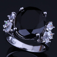 Impressive Oval Black Cubic Zirconia White CZ 925 Sterling Silver Ring For Women V0611