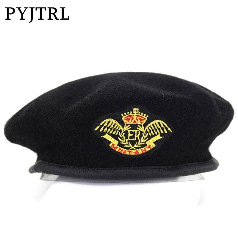 PYJTRL New Metal Emblem Unisex Woolen Beret Military Hats Adjustable Costume Party Cosplay Perform Stage Props boina Navy Cap