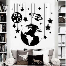 Free shipping Planet Wall Stickers Rocket Decals Nursery Room Decor Space Ship Vinyl Wall Decal Kids Room Boys Bedroom Sticker cute modern planet star universe space wallpaper for kids room boys nursery room decor