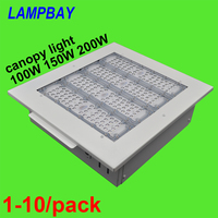 1 10/pack LED Canopy Light 100W 150W 200W Gas Station Lighting Surface mounted Ceiling Lamp Recessed Downlight