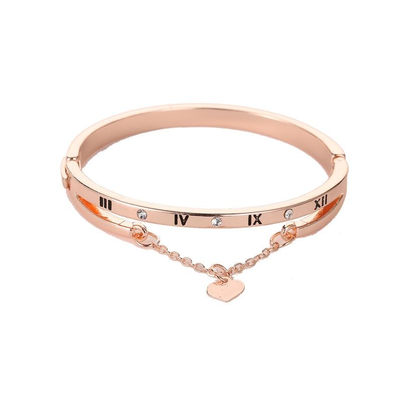 Роскошные браслеты из нержавеющей стали из розового золота, женские браслеты с сердцем, подвеска любовь, браслет для женщин, пара, женская бижутерия в подарок - Окраска металла: 1887