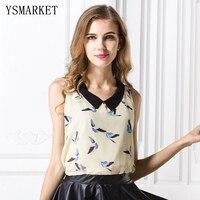 2017 Summer Fly Bird Print Chiffon T Shirt Women Casual Tank Tops Sleeveless Blouse Tshirt Vintage