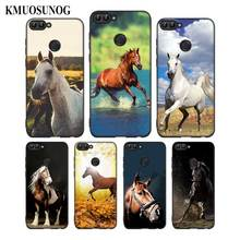 For Huawei P8 P9 P10 P20 P30 Pro Lite P Smart Plus Y6 Y9 2017 Black Soft Silicone Phone Case Running horse Style
