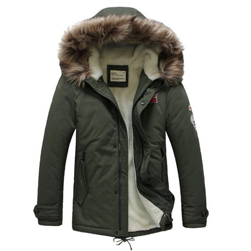 Winter Parka Coats Lambswool-Liner Mens Jackets Army-Green Fur-Hood Casual Warm Thick