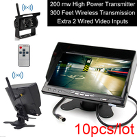 10PCS 300FT Built in Wireless Truck Parking System+7 inch HD LCD TFT Rear View Monitor Parking Kit Night Vision Surveillance