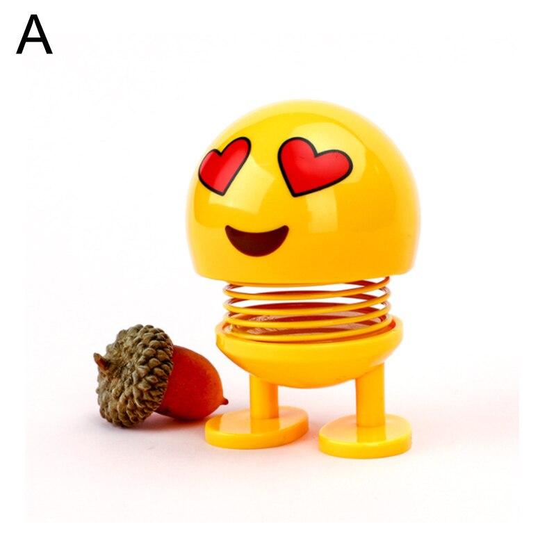 350 pièces nouveau dessin animé mignon drôle Emoji vaciller secouant tête jouets voiture intérieur tableau de bord décoration créative rebond jouets voiture ornement