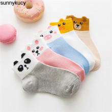 5 Pairs / Lots New Soft Cotton Boys And Girls Socks Cute Cartoon Pattern Children 7 Models For 1-12Y