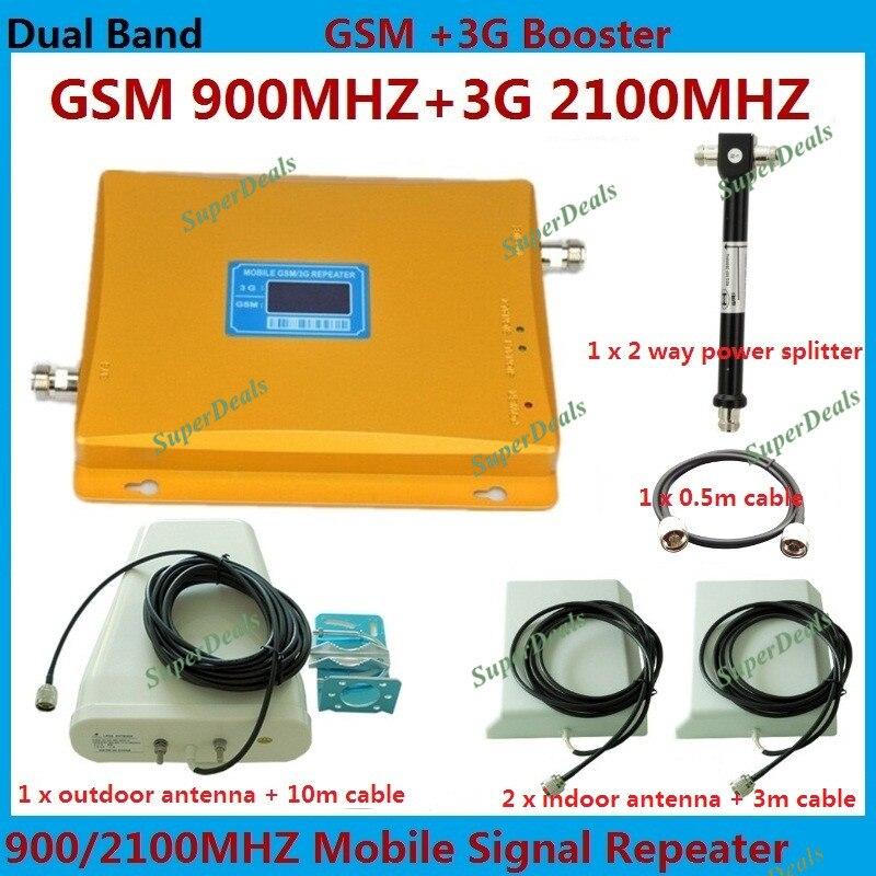 Répéteur mobile à double bande GSM 900 MHz et 3G W-CDMA 2100 mhz 3G amplificateur de signal double amplificateur avec câble de 10 + 3 mètres