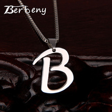 hot deal buy 1pcs letter design capital initial necklace women men jewelry silver color stainless steel alphabet letter necklace jewelry