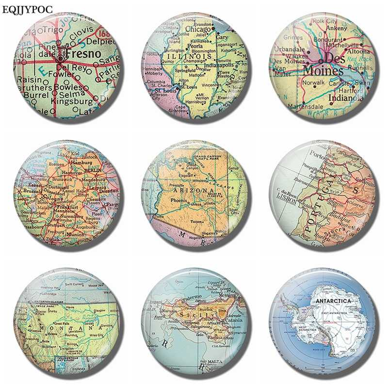 Fresno Illinois Des Moines Germany Arizona Portugal Montana Sicily Antarctic Map Souvenir Fridge Magnets Refrigerator Stickers