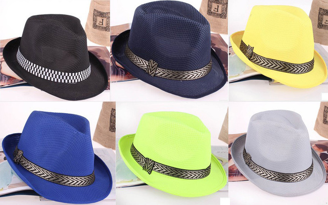 649e0a464dae1 58 or 54CM Men Women Jazz Hat Kids Fedora Hat With Chevron Ribbon ...