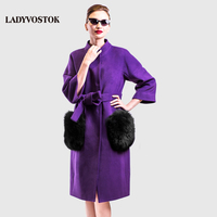 LADYVOSTOK Winter Long Woman Coat Cashmere Coat Stand Collar Removable Pockets Daily Free Clothes Plus Sizes