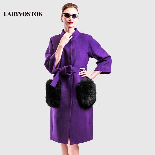 LADYVOSTOK осень зима длинный женский пальто женский кашемир пальто съемные меховые карманы утеплитель хлопок длинная женская куртка новая мода зима 2017