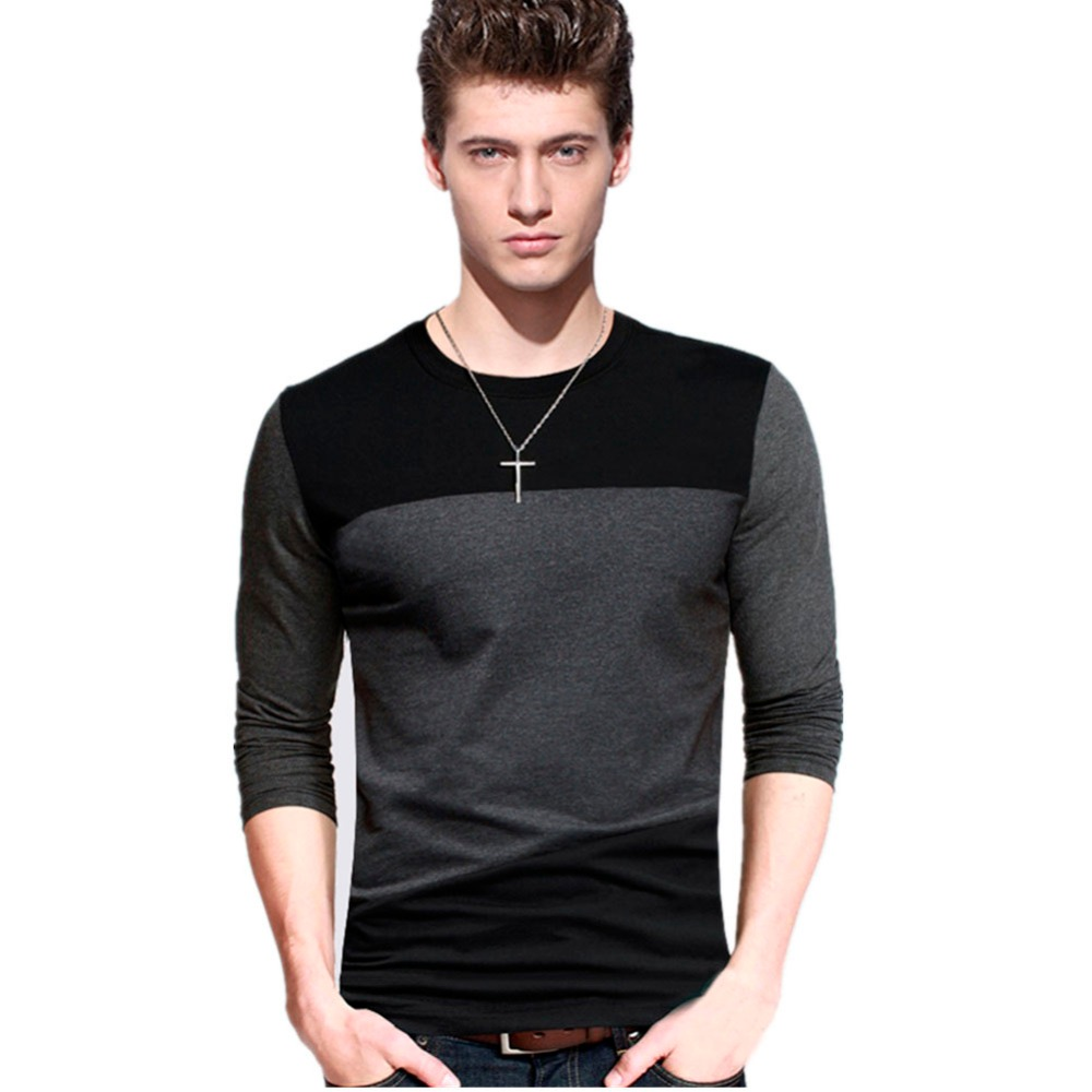 Mens casual 2016 t shirts tops tee crew neck long sleeve Fitness shirts for men