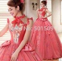 Длинное платье с бантом и оборками на воротнике, украшенное бусинами и цветочным принтом, платье в стиле ренессанс, костюм принцессы в викто