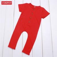 COSPOT Newborn Summer   Romper     Baby   Boys Girls Cotton Rolled Sleeve Jumpsuit Kids Plain Fashion Jumper Infant Clothes 2018 New 33