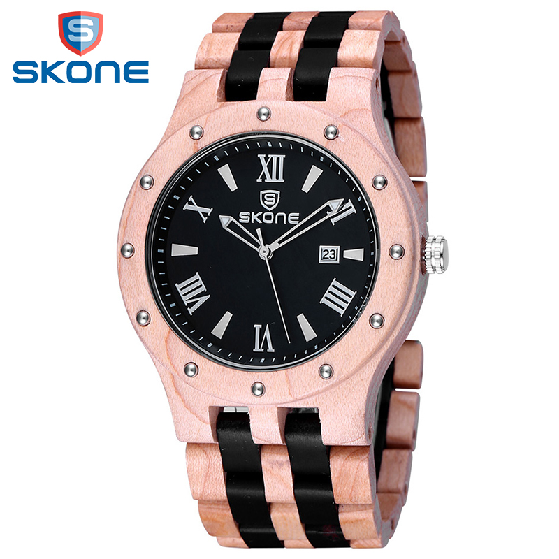 SKONE Wooden Watch Men Luxury Brand Quartz Wood Watches Men Simple Dress Wristwatch Fashion Casual Male Clock Relogio Masculino redear top brand wood watch men women wooden watches japan miyota fashion watch leather clock relogio feminino relogio masculino