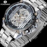 FORSINING люксовый бренд Мужские автоматические мужские часы Креативный Скелет механические часы мужские браслет из нержавеющей стали часы