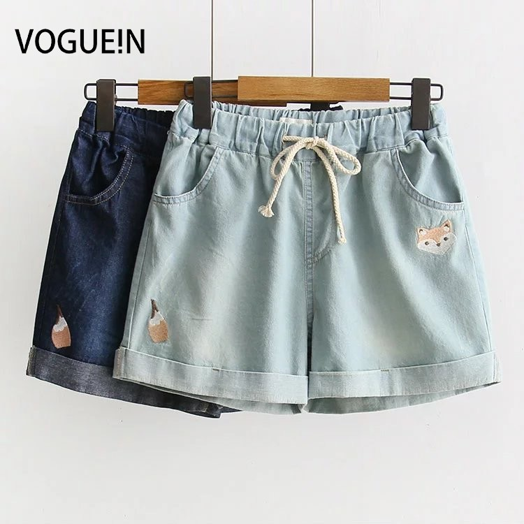 VOGUEIN New Womens Fox Embroidered Pockets Drawstring Denim Jeans   Short   Pants   Shorts   Size SML Wholesale