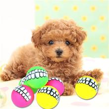 Pet Supply Funny Teeth Rubber Dog Ball Toy Sound Squeak Chew Toys For Small Large Product PVC Tooth Shape
