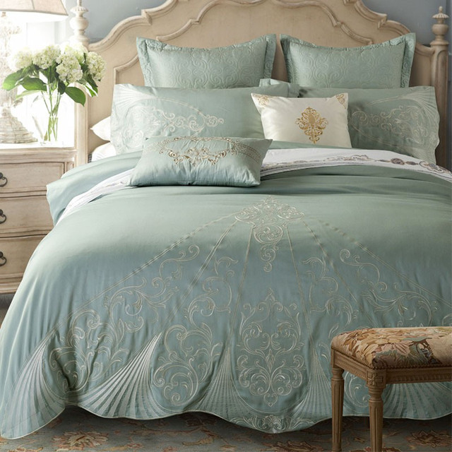 PanlongHome Vintage Blue European Bed Bedding Set 60S Cotton 1.8 / 2.0m  Sheets Quilt Cover