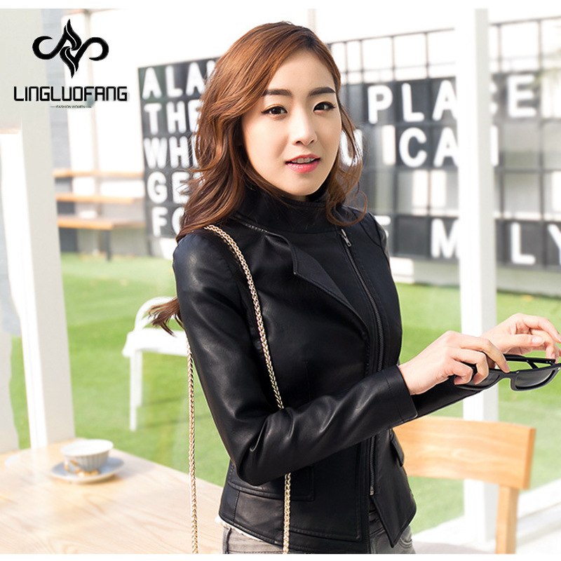 Jaqueta de couro 2016 autumn and winter new arrival Korean simple collar Slim plus size PU