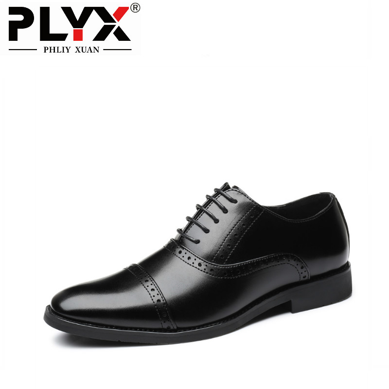 PHLIY XUAN Luxury brand PU Leather Fashion Men Business Dress Loafers Pointy Black Shoes Oxford Breathable Formal Wedding