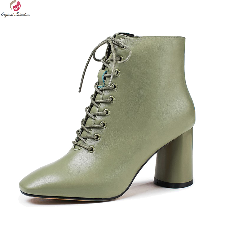 Original Intention New Elegant Women Boots Real Leather Square Toe Square Heels Boots Black Green Shoes Woman US Size 3-10.5 women vintage square toe real leather half boots fashion woman transparent square heels shoes heeled footwear size 34 39 n00139