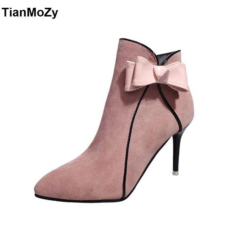 2017 Neue Frauen High Heel Stiefel Schuhe Rosa Schmetterling Knoten Für Frau Herbst Winter Pumpen Mode Wies Stiefel Reißverschluss SchöNer Auftritt