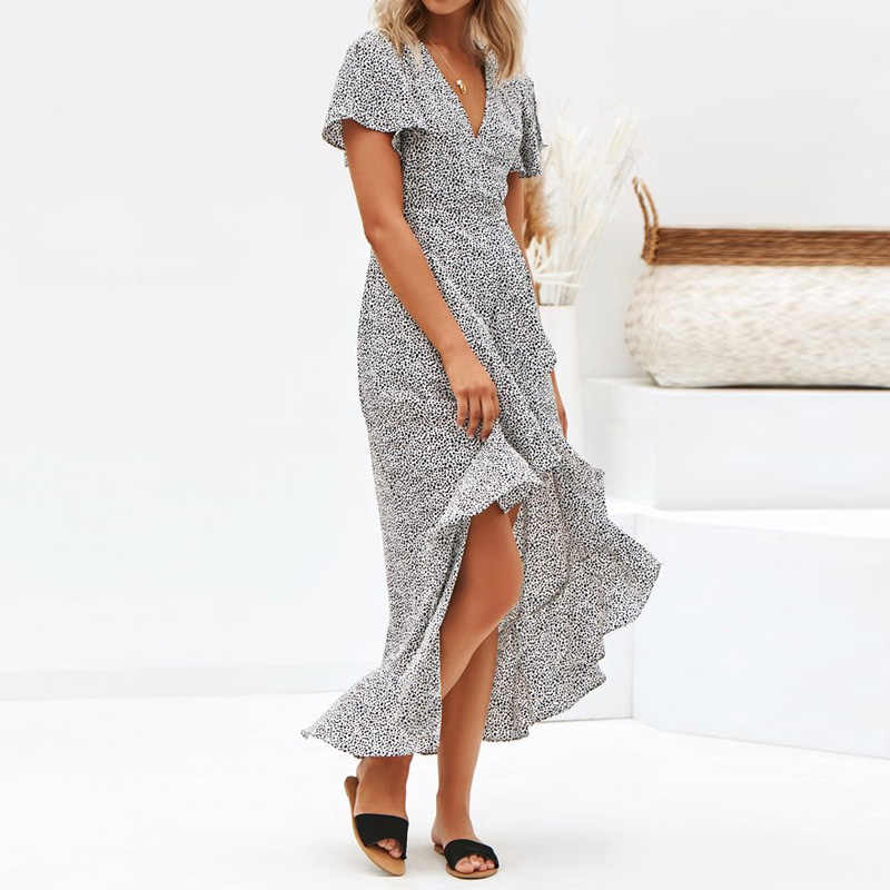 Новое поступление 2019, летнее шифоновое платье в горошек, короткие рукава-фонарики, Пляжное платье, сексуальное платье с v-образным вырезом, асимметричное платье, Летние платья