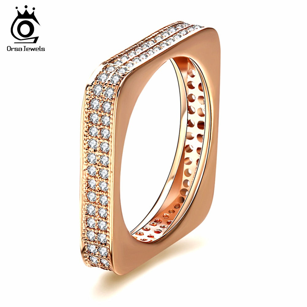 ORSA JEWELS Trendy Rings For Women AAA Cubic Zircon Square Shape Design Gold-color Fashion Jewelry Luxury Gift For Girl OMR14 stylish gold arrow shape design black polaroid sunglasses for women