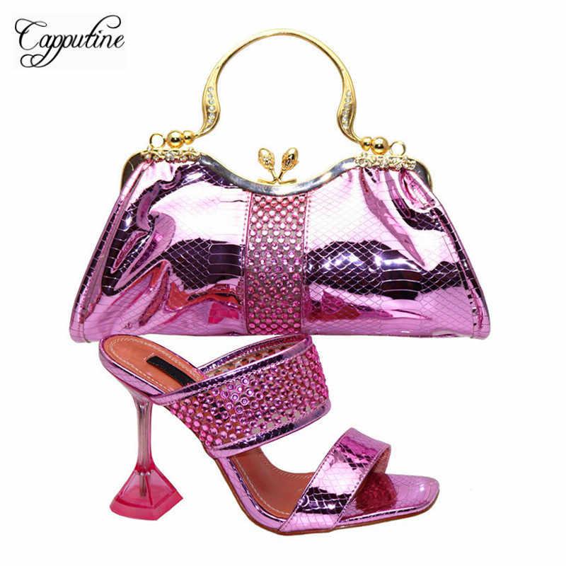 Capputine/высокое качество; комплект из женской обуви и сумочки в африканском стиле; итальянская специальная обувь на каблуке с сумочкой в комплекте для вечернего платья