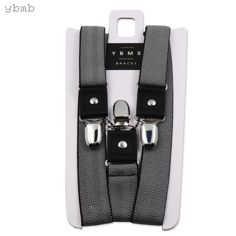 YBMB Fashion Shirt Suspenders 25mm Width 3 Clips Y-Shape Unisex Fully Adjustable Braces Synthetic Leather Rivet Novelty