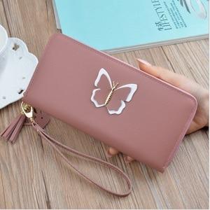 Nouveau 2019 Long dames en cuir portefeuille Zip sac à main papillon étui téléphone embrayage porte-carte femmes sac à main(China)
