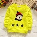2016 primavera e outono meninos e meninas 100% algodão carta quente T do bebê menino longo-marca das crianças de mangas compridas T-shirt livre grátis