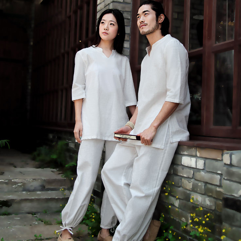 Asian 4 seasons White gray purple Cotton Linen Yoga suits playing meditation tai chi clothing Kungfu outfit for men and women