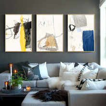 купить Modern Minimalist Color Block Geometric Line Graphic Color Canvas Painting Art Print Poster Picture Wall Home Decoration по цене 168.3 рублей